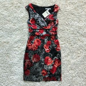 Boston Proper black/gray satin dress w/ red roses